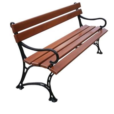 ławka z oparciem i podłokietnikiem
